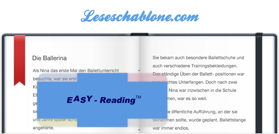 EASY READING Leseschablone
