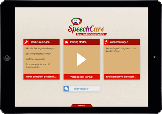 SpeechCare, Legasthenie, LRS, App, Tablet, iOS, Android, Legasthenietraining