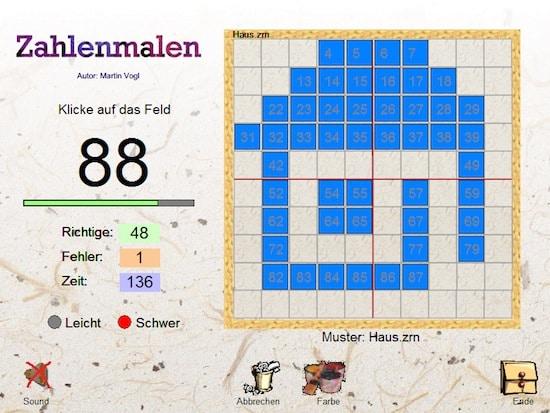 Zahlen malen, Dyskalkulie, AFS-Methode, Sinneswahrnehmungen, kostenlos, Spiel, Software, Eltern, Lehrer, Kinder, Hunderterraum, Orientierung im Hunderterraum, 100er Raum